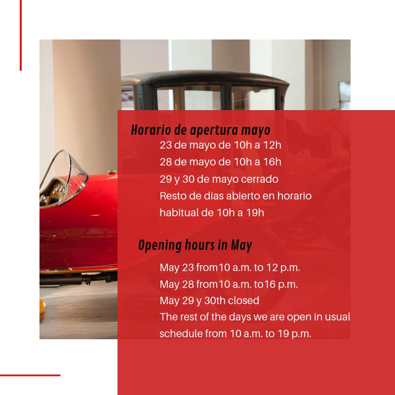 Horario de apertura en mayo