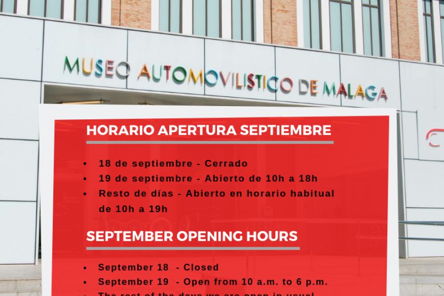 Horario septiembre – Museo Automovilístico y de la Moda